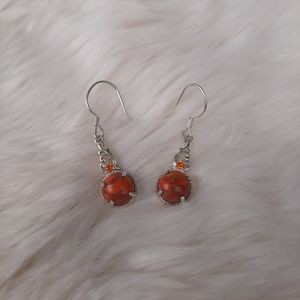 Real Orange Turquoise Sterling silver earrings